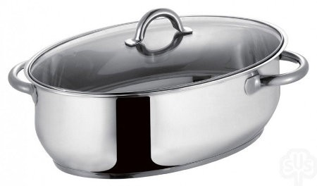 Roaster: Stainless Steel Glass-lid (34cm)